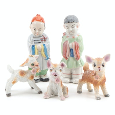 Japanese Ceramic Figurines of Children and Animals, Mid-20th Century