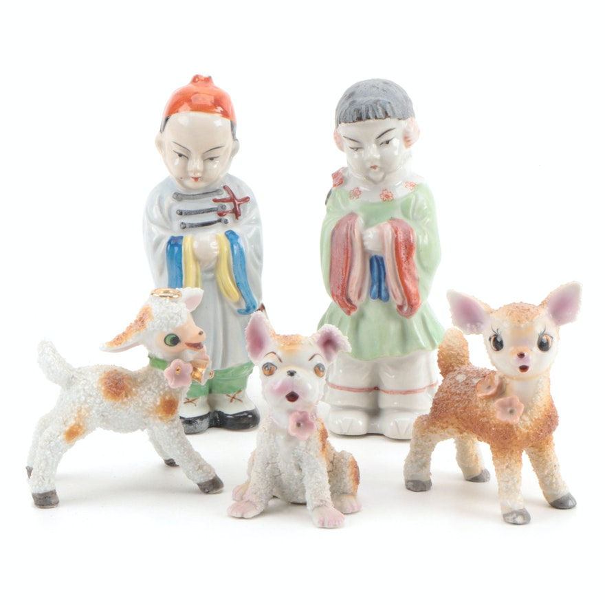 Japanese Ceramic Figurines of Children and Animals, Mid-20th Century