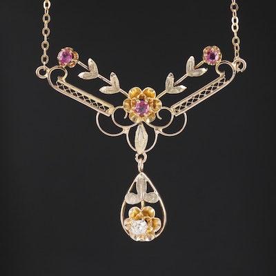 Art Nouveau 10K Ruby and Diamond Foliate Motif Stationary Pendant Necklace