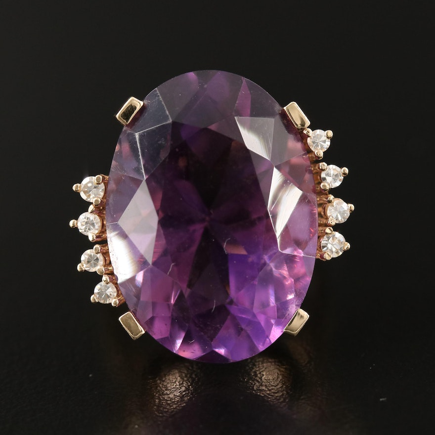 14K 32.02 CT Amethyst and Diamond Ring