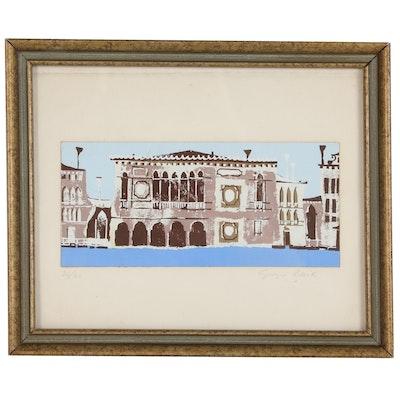 Giorgio Baik Serigraph of a Venetian Palazzo, Late 20th Century