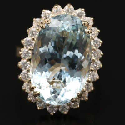 14K 14.23 CT Aquamarine and 1.08 CTW Diamond Halo Ring