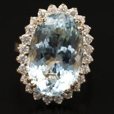 14K 14.23 CT Aquamarine and 1.08 CTW Diamond Halo Ring