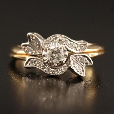 Vintage 14K Two Tone Diamond Ring Set