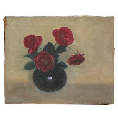 Floral Still Life Oil Painting of Roses, Early 20th Century