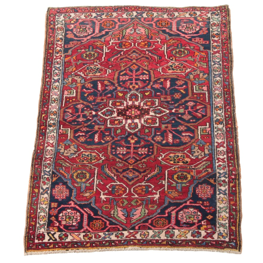 3'9 x 5'4 Hand-Knotted Persian Heriz Wool Rug