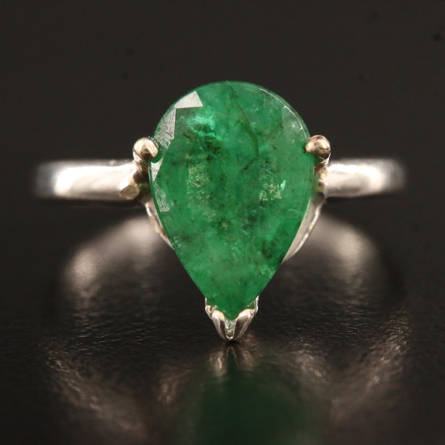 14K Pear Shaped 2.20 CT Emerald Solitaire Ring