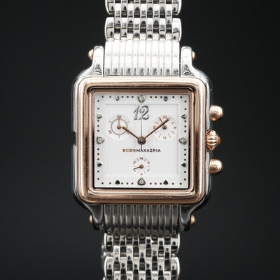 BCBG Maxazria Chronograph Diamond and Two Tone Quartz Wristwatch