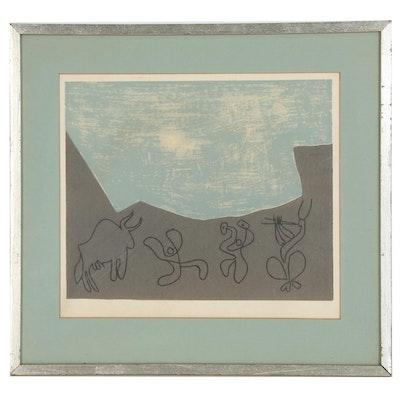 """Pablo Picasso Linoleum Cut """"Bacchanale with Bull"""""""