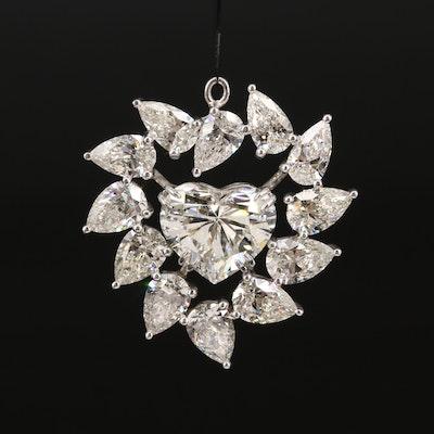 18K 13.45 CTW Diamond Heart Wreath Pendant