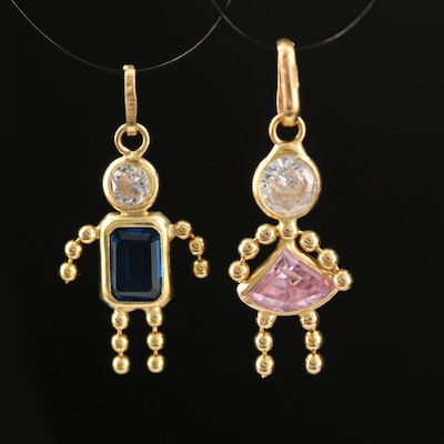 14K Sapphire and Cubic Zirconia Figural Charm Pendants