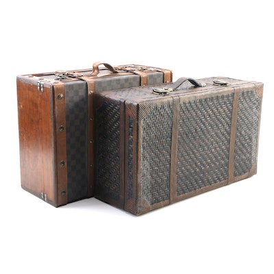 Rattan Travel Case and Coated Canvas Travel Case Décor