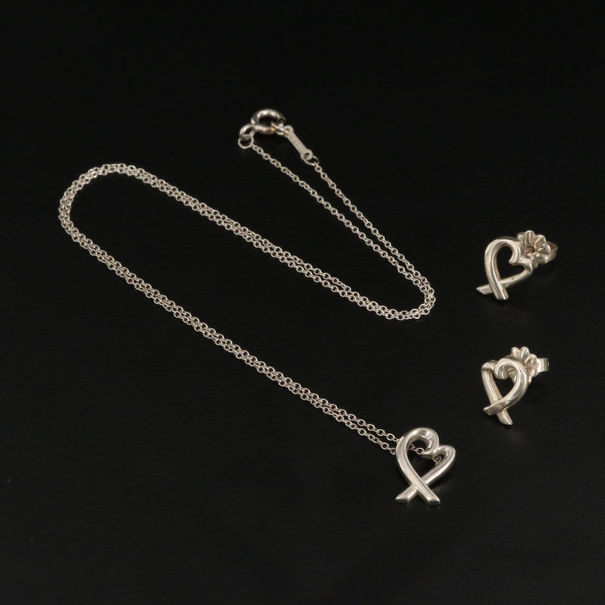 "Paloma Picasso for Tiffany & Co. ""Loving Hearts"" Sterling Jewelry Set"