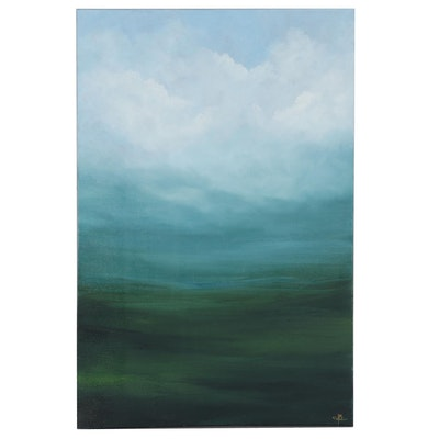"Sarah Brown Landscape Oil Painting ""Misty Fields"""