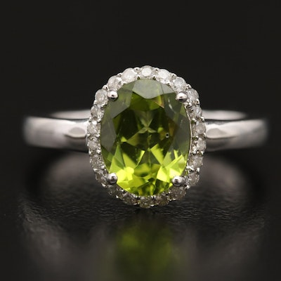 Sterling Silver Peridot and Diamond Halo Ring