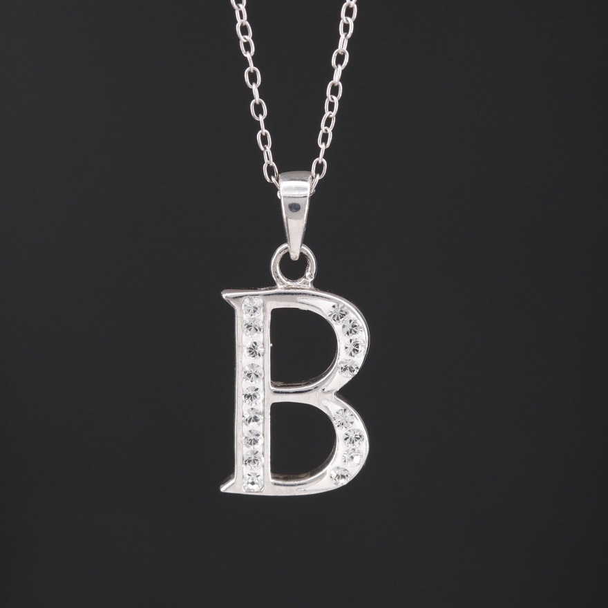 "Sterling Rhinestone ""B"" Pendant Necklace"