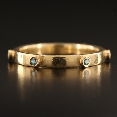14K Minimalist Bezel Set Diamond Band