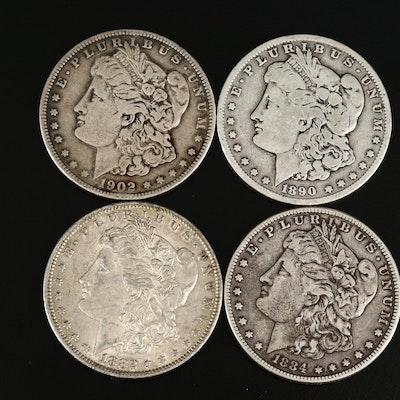 1882-O, 1884, 1890-O, and 1902 Morgan Silver Dollars