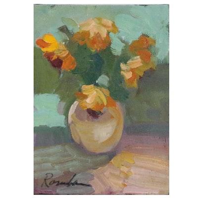 Sally Rosenbaum Floral Still Life Oil Painting, 21st Century