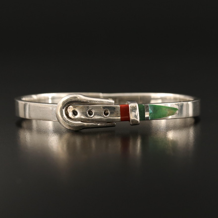 Mexican Sterling Silver Hinged Buckle Bangle with Resin and Quartz Accents