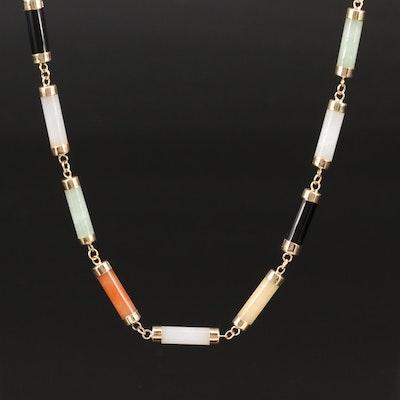 14K Multi-Color Jadeite and Black Onyx Bar Link Necklace
