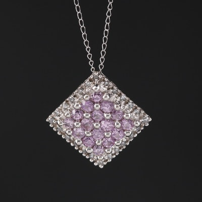 14K Round Faceted Pink Sapphire and Diamond  Halo Pendant Necklace