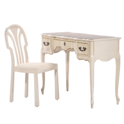 French Provincial Style Painted and Parcel-Gilt Vanity Plus Art Deco Style Chair