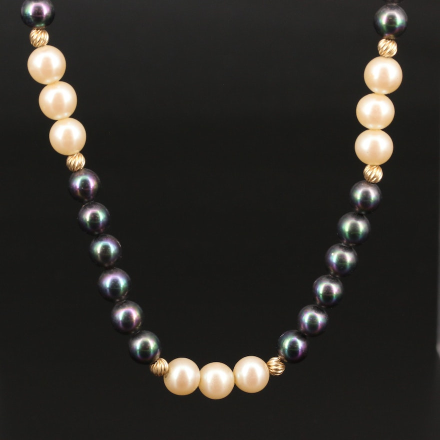 14K Bead and Imitation Pearl Endless Strand Necklace