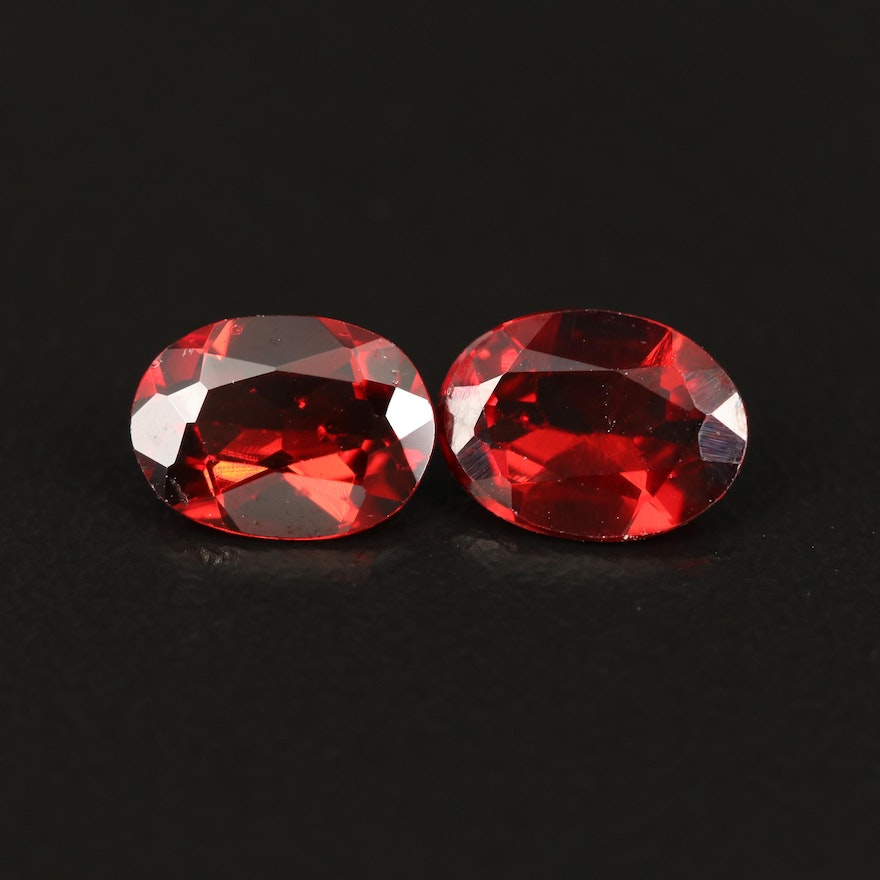 Matched Pair of Loose 2.47 CTW Oval Faceted Garnets