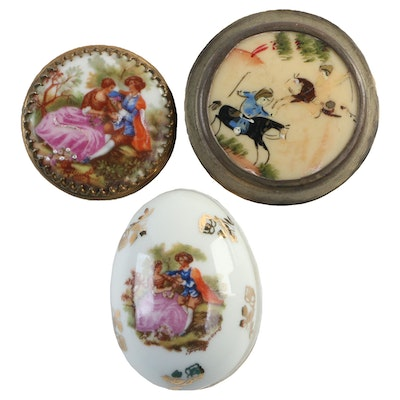 Esther Doron Hand-Painted Box with Other Painted Porcelain and Gilt Boxes