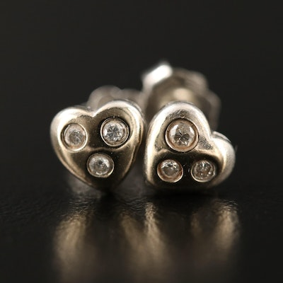 18K Diamond Heart Shaped Stud Earrings