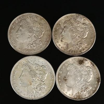Four High Grade 1921 Morgan Silver Dollars