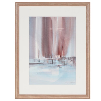 Doris White Abstract Nautical Watercolor Painting