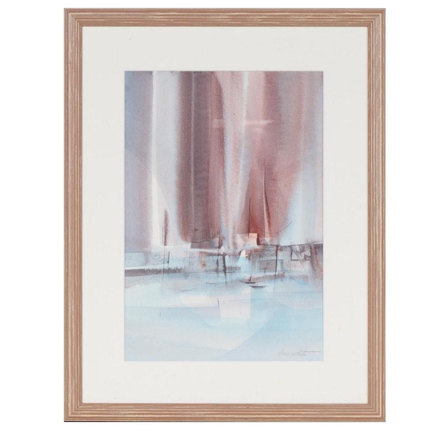 Doris White Abstract Nautical Watercolor Painting