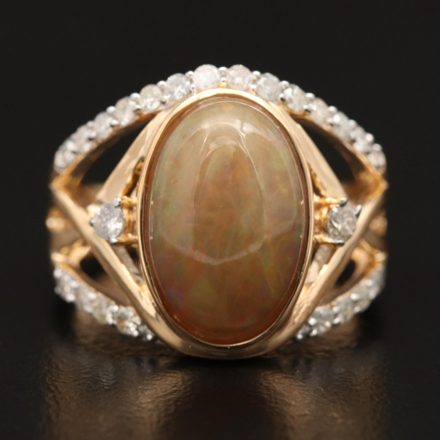 Sterling Silver Opal and Diamond Ring
