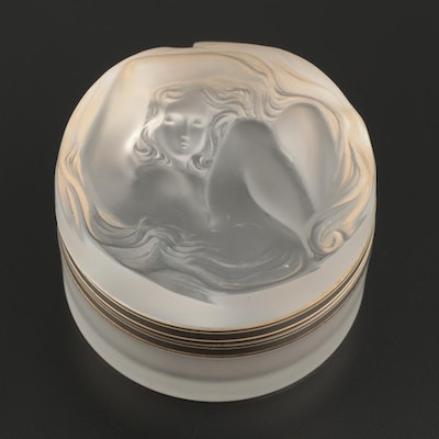 "Lalique ""Daphné"" Frosted Crystal Vanity Box with Gilt Hinged Lid"