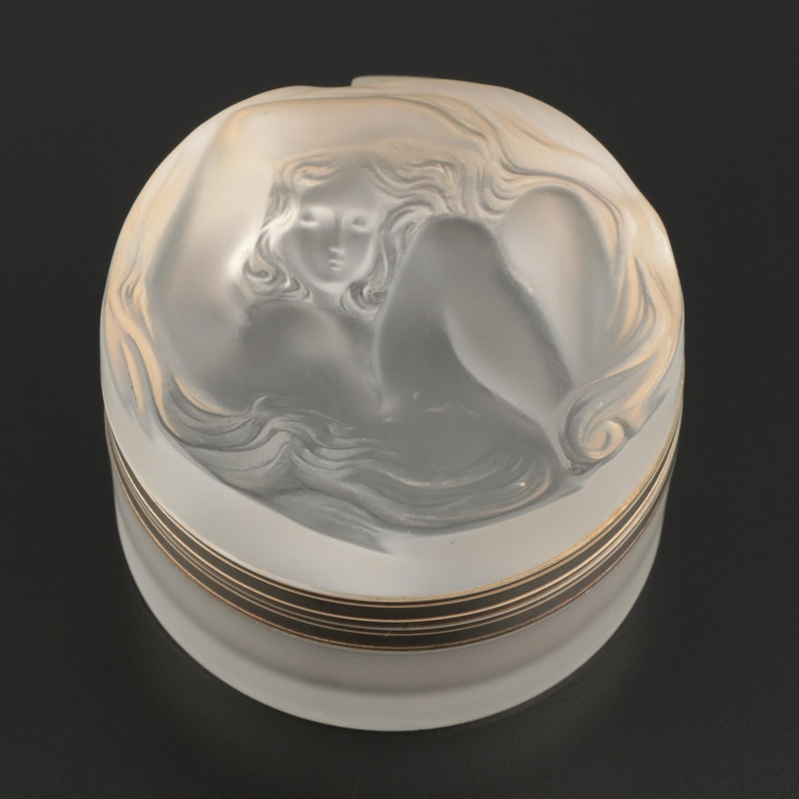 """Lalique """"Daphné"""" Frosted Crystal Vanity Box with Gilt Hinged Lid"""