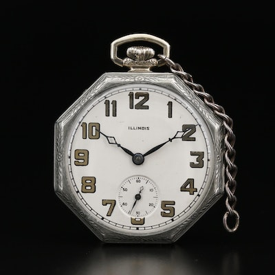 1931 Illinois 14K Gold Filled Open Face Pocket Watch