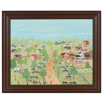 Folk Art Oil Painting of Village