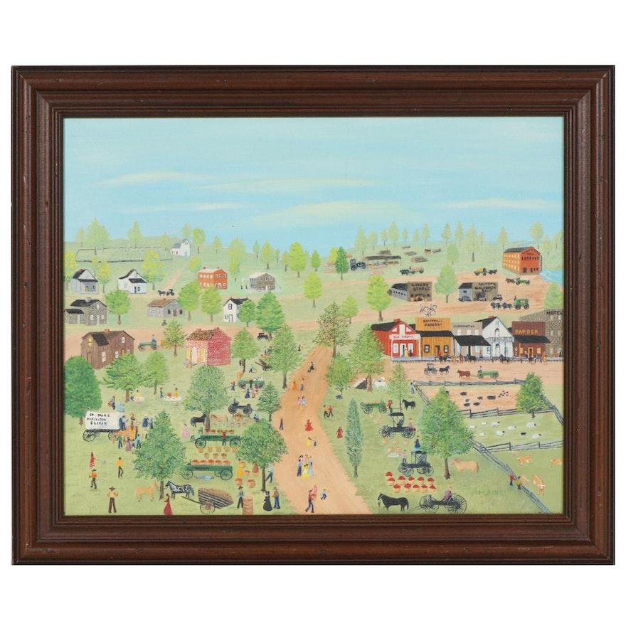 Folk Art Oil Painting of Village