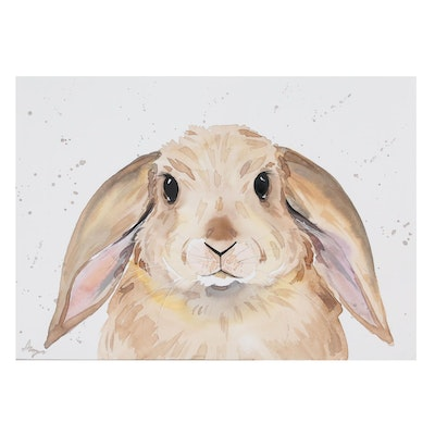 Anne Gorywine Watercolor Painting of Bunny, 2020