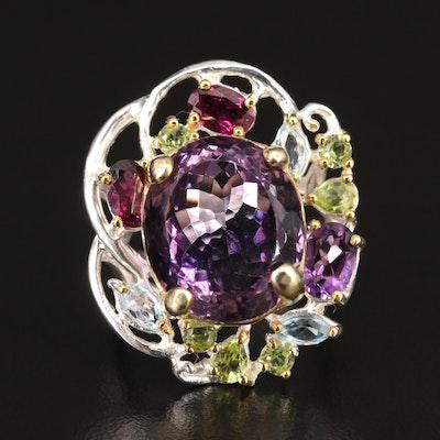 Sterling Silver Amethyst, Rhodolite Garnet and Peridot Openwork Ring