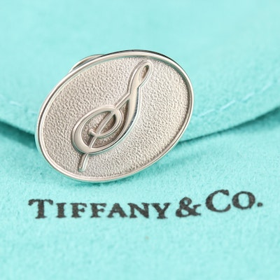 Tiffany & Co. Sterling Treble Clef Pin with Pouch