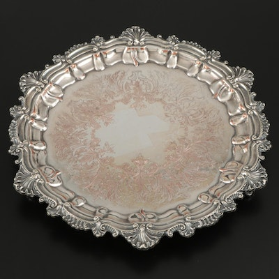 Silver Plate Footed Salver with Ornate Shell and Scroll Rims