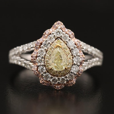14K Diamond Teardrop Scallop Halo Ring