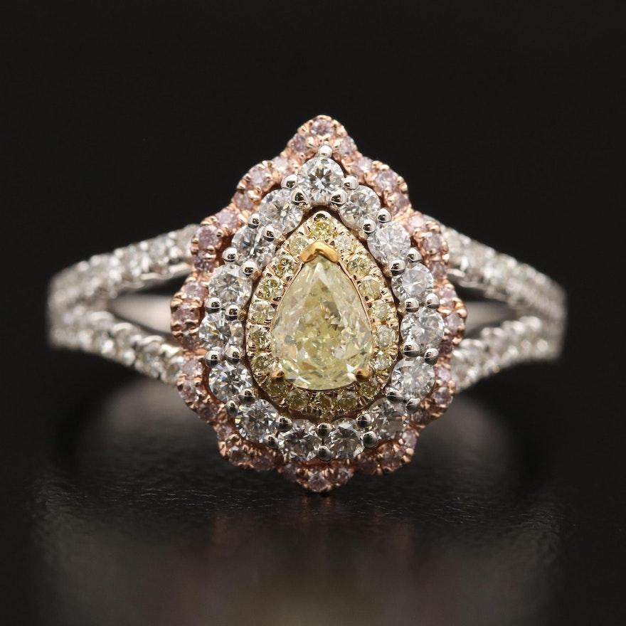 14K Diamond Teardrop Scallop Halo Ring