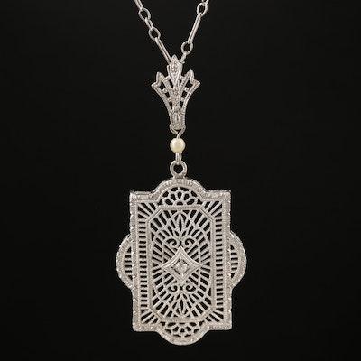 Art Deco Inspired 10K Diamond and Pearl Filigree Pendant Necklace