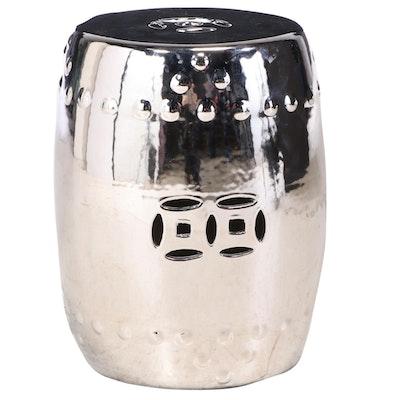 Chinese Style Ceramic Garden Stool with Metallic Silver Glaze