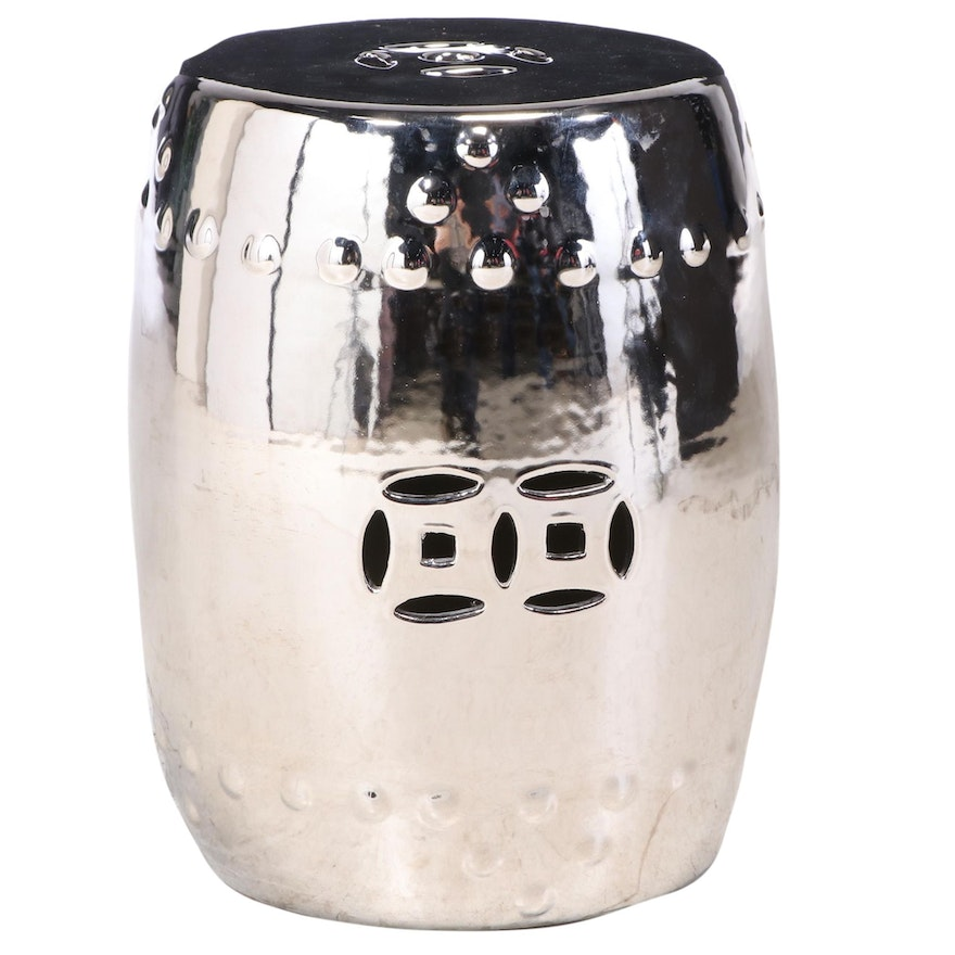 Chinese Style Ceramic Garden Stool with Metallic Silver Glaze