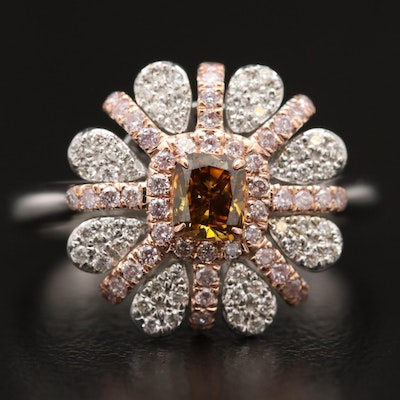 14K Diamond Floral Motif Ring with Rose Gold Accents